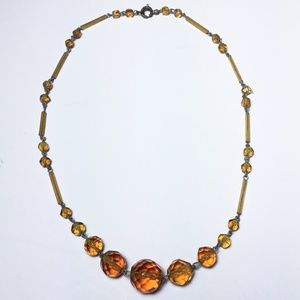 Swarovski Jewelry - Vintage 1940s Topaz Amber Faceted Crystal Necklace